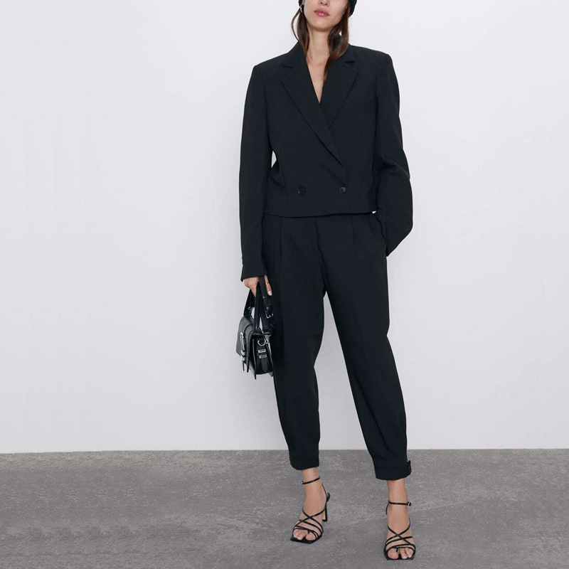 Spring And Autumn Women's Suit Casual Solid Color Double-breasted Suit + Wide-leg Pants Suit