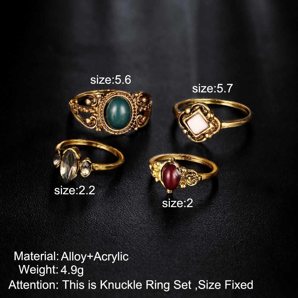 4 ชิ้น/เซ็ตเครื่องประดับเงิน VINTAGE VINTAGE Bohemian VINTAGE แหวน Knuckle Blue Rings แฟชั่นคริสตัลเครื่องประดับ Bague ของขวัญ #10