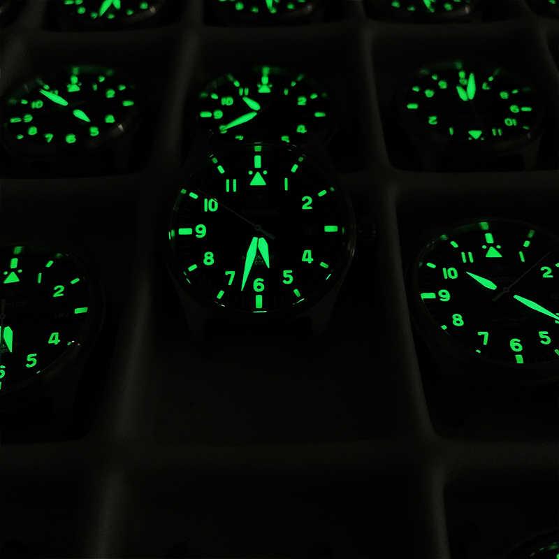 ダイバー機械式潜水時計の男性の革サファイアクリスタルビジネスメンズパイロット腕時計NH35 腕時計 200 メートル防水