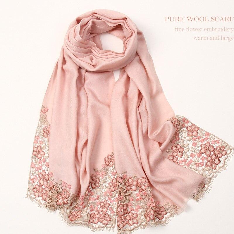 Fleur broderie laine écharpe femmes automne hiver 100% laine châles enveloppes dames chaud luxe brodé rose Pure mouton laine écharpe grande taille