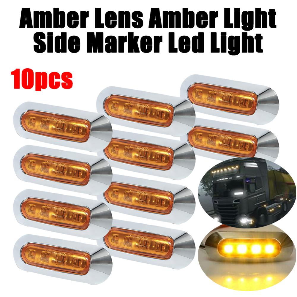 10pcs Amber <font><b>4</b></font> <font><b>SMD</b></font> 12V / 24V <font><b>LED</b></font> Side Marker Lights Car External Lights Warning Tail Light Auto Trailer Truck Lorry Lamps image