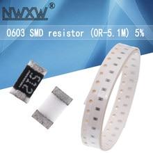 100 PÇS/LOTE 0603 SMD Chip Resistor 1/10W 5% 0R-5.1M 1R 1.5R 47 56 10R 4.7K K K 100R 91R 82R 3.3K 39R 1K 1 10K 470K 100K 910K ohm M