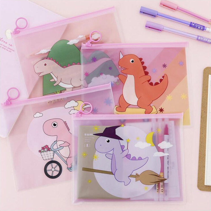 1PCS Pink Dinosaur Pencil Case Office Stationery And School Supplies High Capacity PVC Material Portable Pencil Bag
