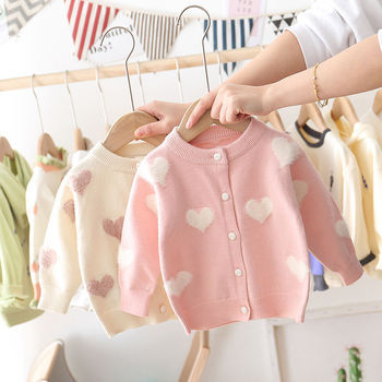 INS baby girls cardigan 2-7 years old Autumn and winter children's sweater Mohair kids sweaters baby cardigan Love jacquard baby boys and girls cardigan sweater 2 11years autumn and winter cartoon jacquard koala bear knitting outwear unisex clothing