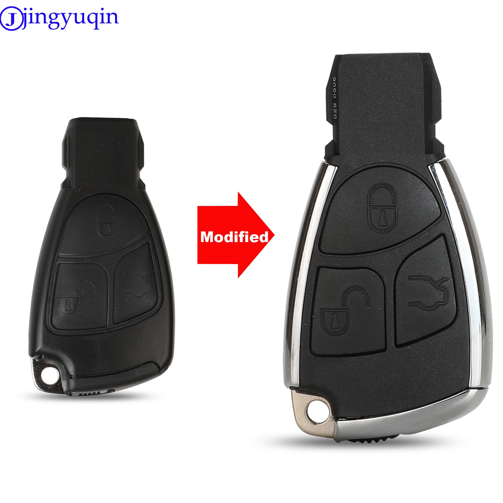 jingyuqin 5ps 3B <font><b>Remote</b></font> Auto Smart <font><b>Key</b></font> Case Shell For Mercedes Benz B C E ML S CLK CL GL <font><b>W211</b></font> Chrome Style With Battery Holder image