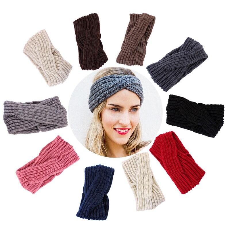 One Size Fashion Headband Rhinestones Hairband Mudd Knit Headwrap for Women