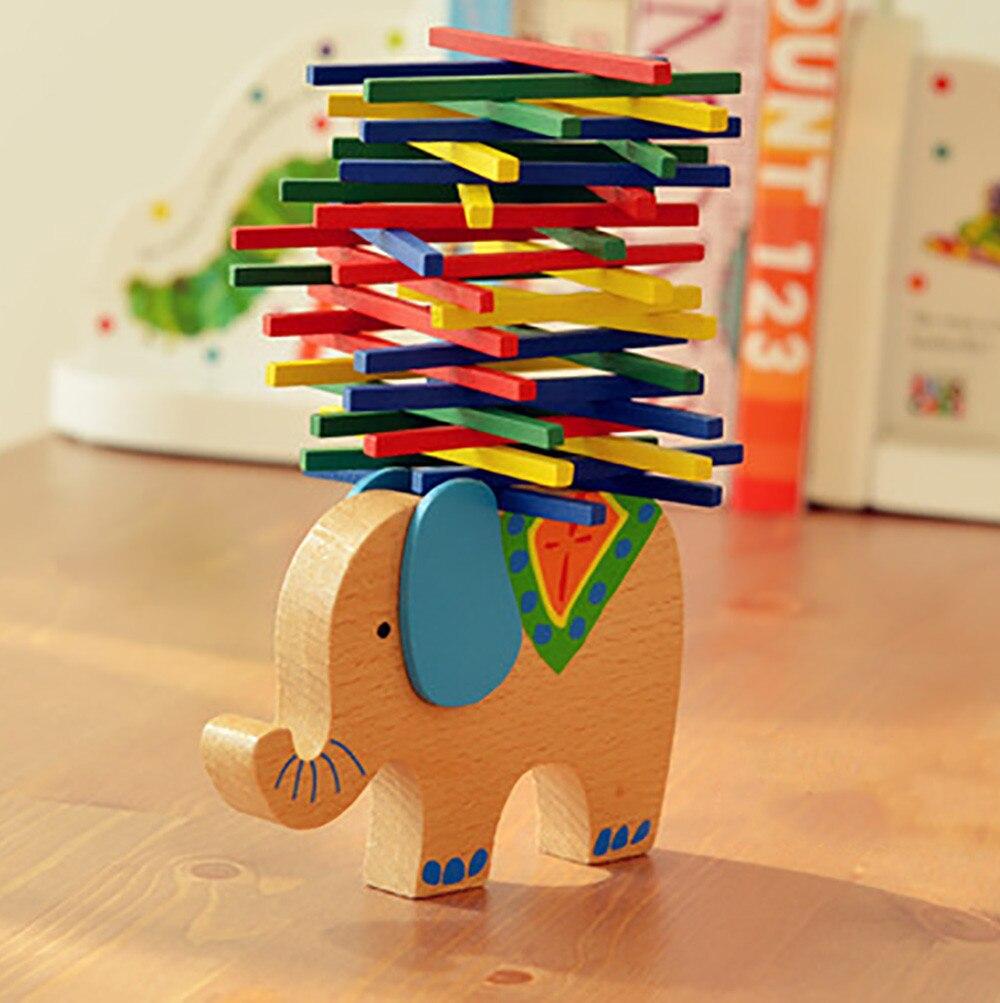 Education For Kids Fun Learning Toys For Children Kids Toys Elephant Wooden Balance Game Montessori Blocks Gift W816