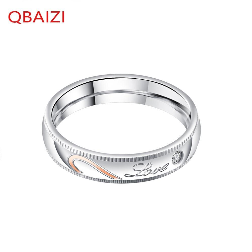 QBAIZI Mode Paar Ring Klassieke mannen Vinger Titanium Staal Klassieke Dames Ring - 4