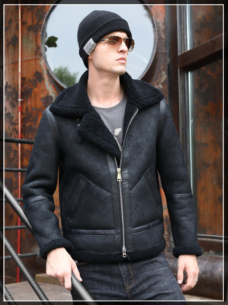 Men's Real Leather Jacket Short Winter Coat Men Genuine Leather Jacket Shearling Vintage Motorcycle Jackets 5265 KJ3291