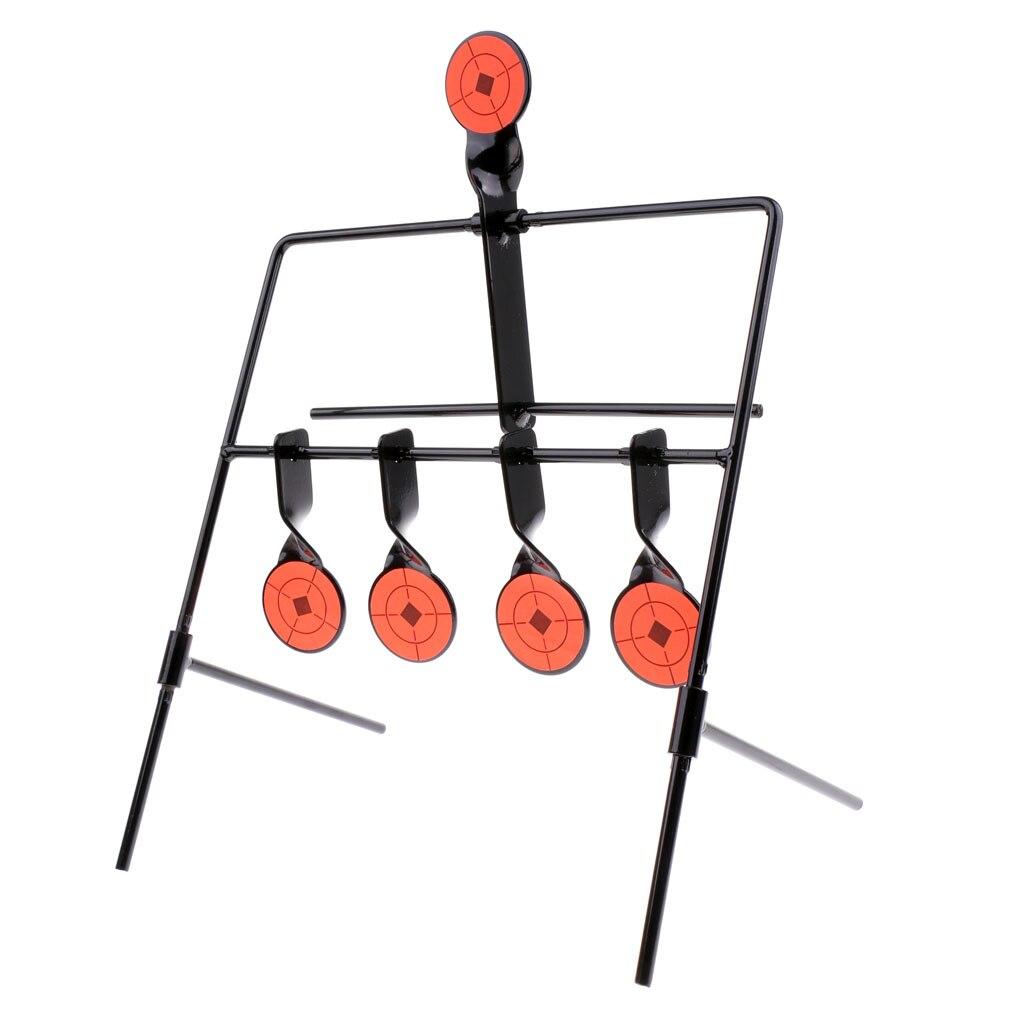 5 Targets Self Resetting Spinning Shooting Target Metal Target Stand Set