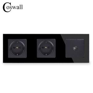 Image 2 - COSWALL קיר גביש זכוכית פנל כפול שקע חשמל מעוגן 16A האיחוד האירופי שקע חשמל עם נקבה טלוויזיה שקע