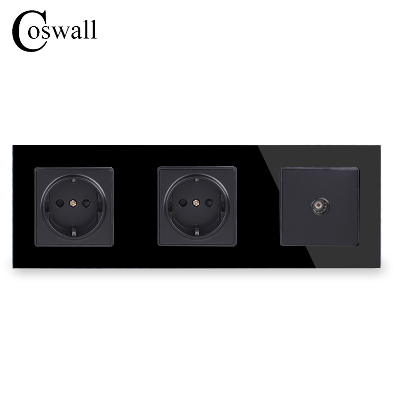 Image 2 - COSWALL Wall Crystal Glass Panel Double Power Socket Grounded 16A EU Electrical Outlet With Female TV Jack-in Electrical Sockets from Home Improvement