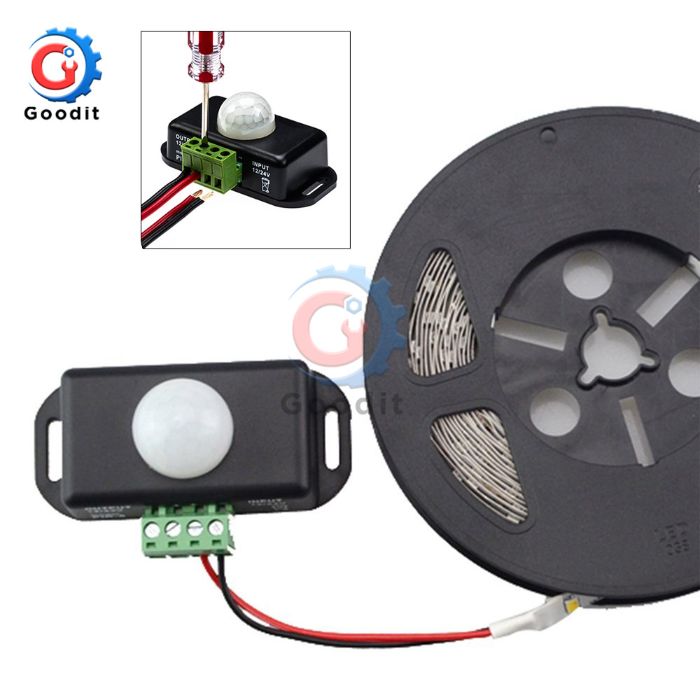 DC 12V 24V 8A Automatic Adjustable PIR Motion Sensor Switch IR Infrared Detector Light Switch Module for LED Strip Light Lamp
