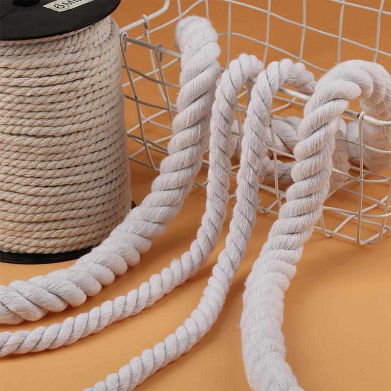 Шнур веревочный из натурального хлопка, 5-20 мм, бежевый, 2 м