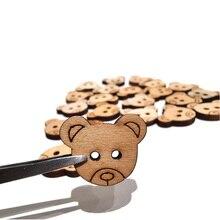 20 шт. 15*18 мм Медведь деревянные пуговицы для шитья шов Скрапбукинг аксессуары деревянная кнопка для одежды ремесла скрапбукинга