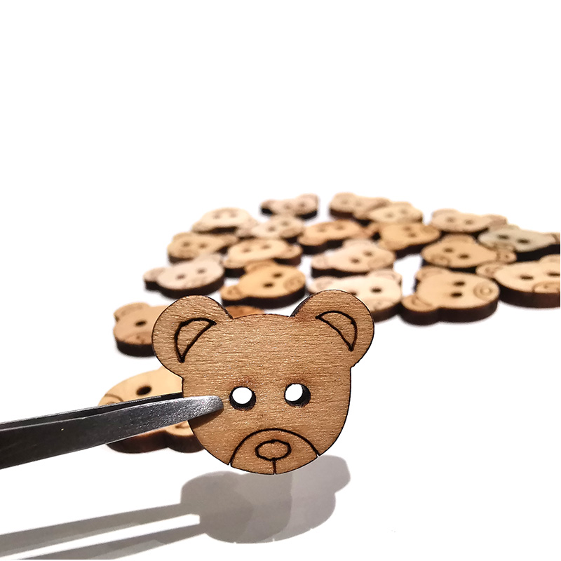 10PCS 15*18mm Bear Wooden Buttons Sewing Seam Scrapbooking Accessories Wood Button For Clothing Crafts Scrapboo