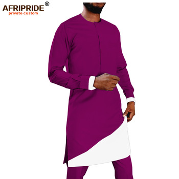 цена 2019 Mens 2 Piece African Dashiki Print Long Shirt+Ankara Pants Set Tribal Outfits Blouse Pockets Tracksuit AFRIPRIDE A1916019 онлайн в 2017 году