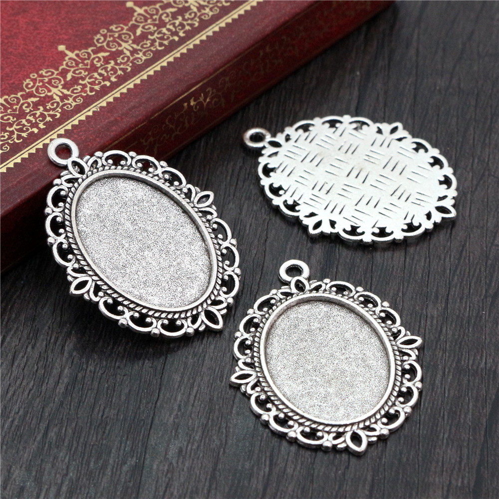 10pcs 18x25mm Inner Size Antique Silver Plated Flowers Style Cameo Cabochon Base Setting Pendant Necklace Findings (C2-07)
