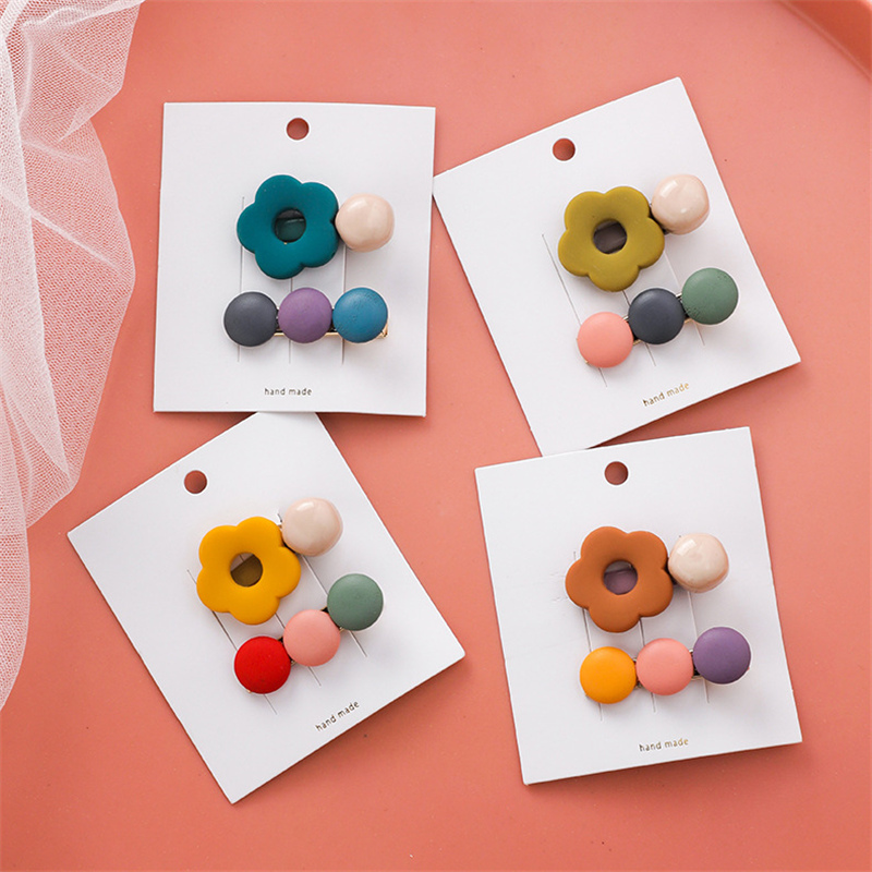 INS New Sweet Baby Girls Colorful Wood Flower Scrub Beads Hairpins Set Safe Duckbill Clip Out Door Spring Travel Hair Accesories