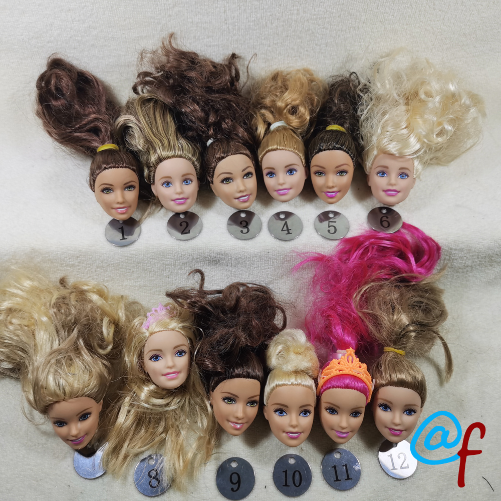 B20-25 Original Foreign Trade European Beauty1/6 OOAK NUDE Doll Head Mussed Long Hair For DIY Soft PVC Head  90%NEW