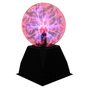 Usb magia preto base de vidro bola plasma noite luz 3/4/5/6/8 polegadas eletrostática bola cristal novidade relâmpago festa lâmpada