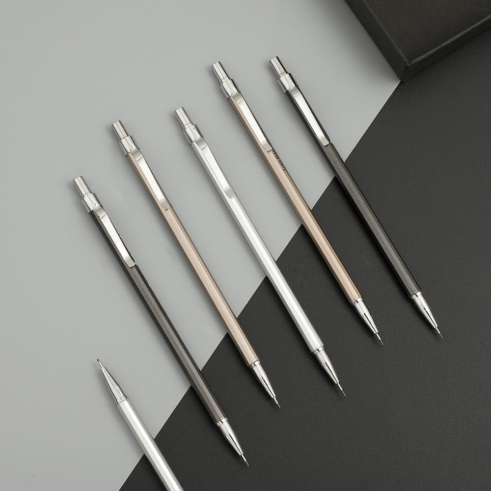 JIANWU 3pcs/set Simple Metal Texture Mechanical Pencil 0.5mm 0.7mm Drawing Propelling Pencil Plastic Material Office Supplies