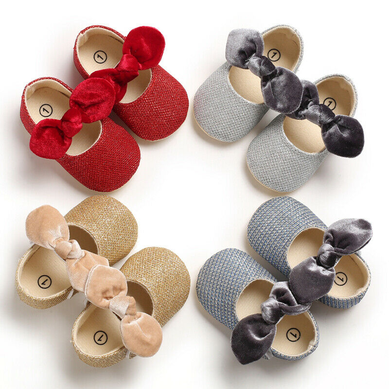 Newborn Baby Girl Soft Sole Shoes Children Kids Bowknot Girl Walking Shoes Walkers