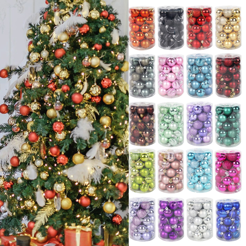 34 stücke bunte Weihnachten kugeln Weihnachten baum hängen ornament weihnachten navidad ball Weihnachten neue jahr wohnkultur natal anhänger