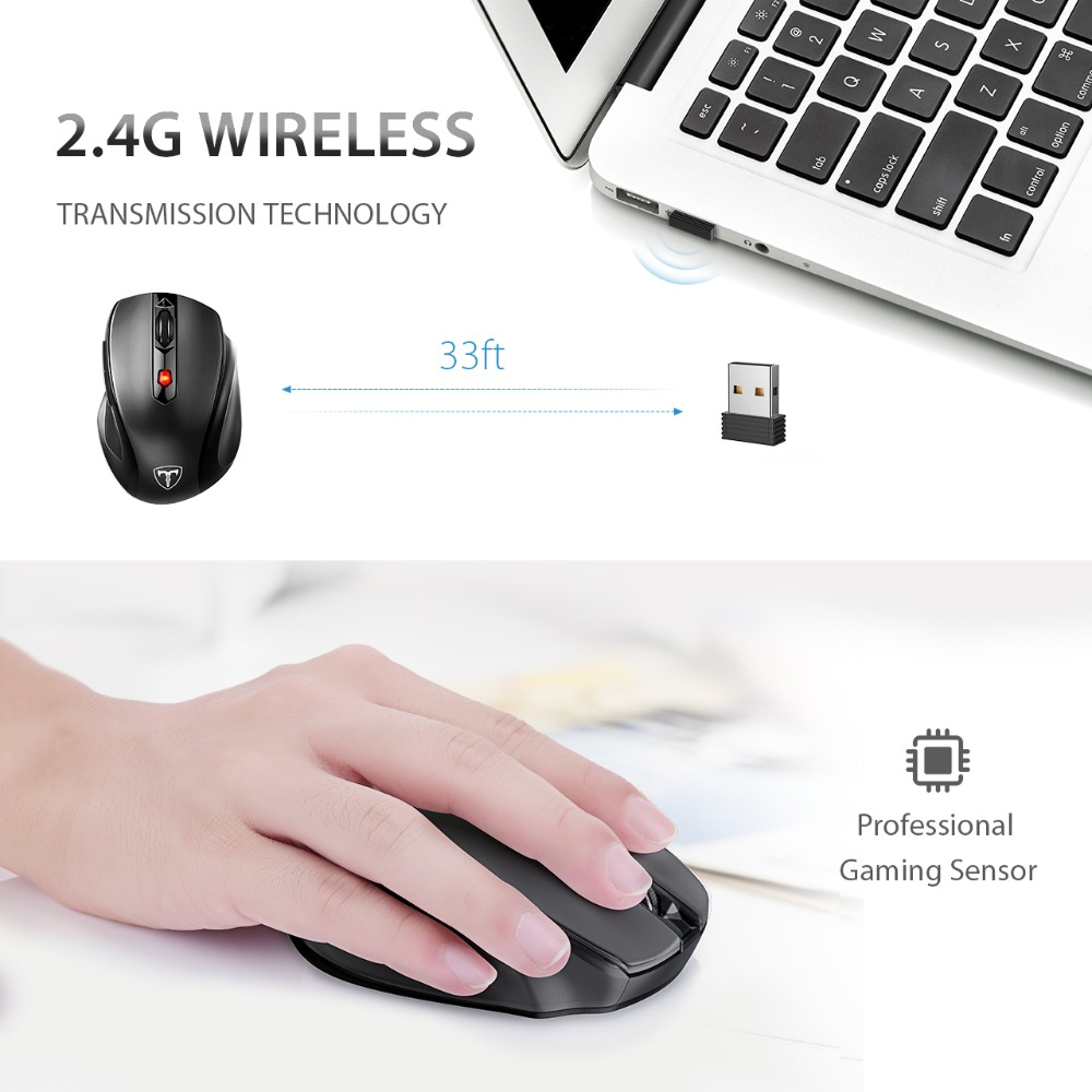 VicTsing MM057 Wireless Mouse 2.4Ghz Ergonomic Design Optical Mice 6 Buttons 2400 DPI Energy Saving For PC Laptop Computer Mouse (2)
