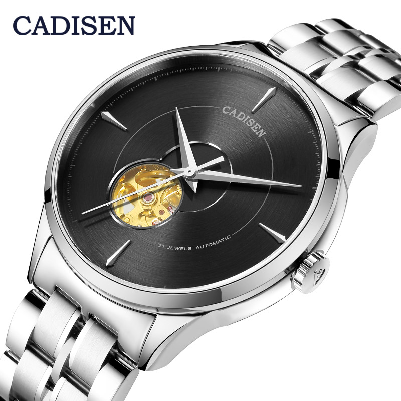 CADISEN Mechanical <font><b>Automatic</b></font> Men Watch 2019 Japan 82S0 Movement Top Luxury Brand Hollow Tourbillon Male Clock Relogio Masculino image