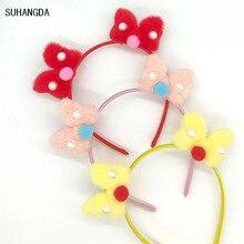 цены 1Pcs New cute plush bow pearl ears kids headband winter hair accessories bow accessories headband headband