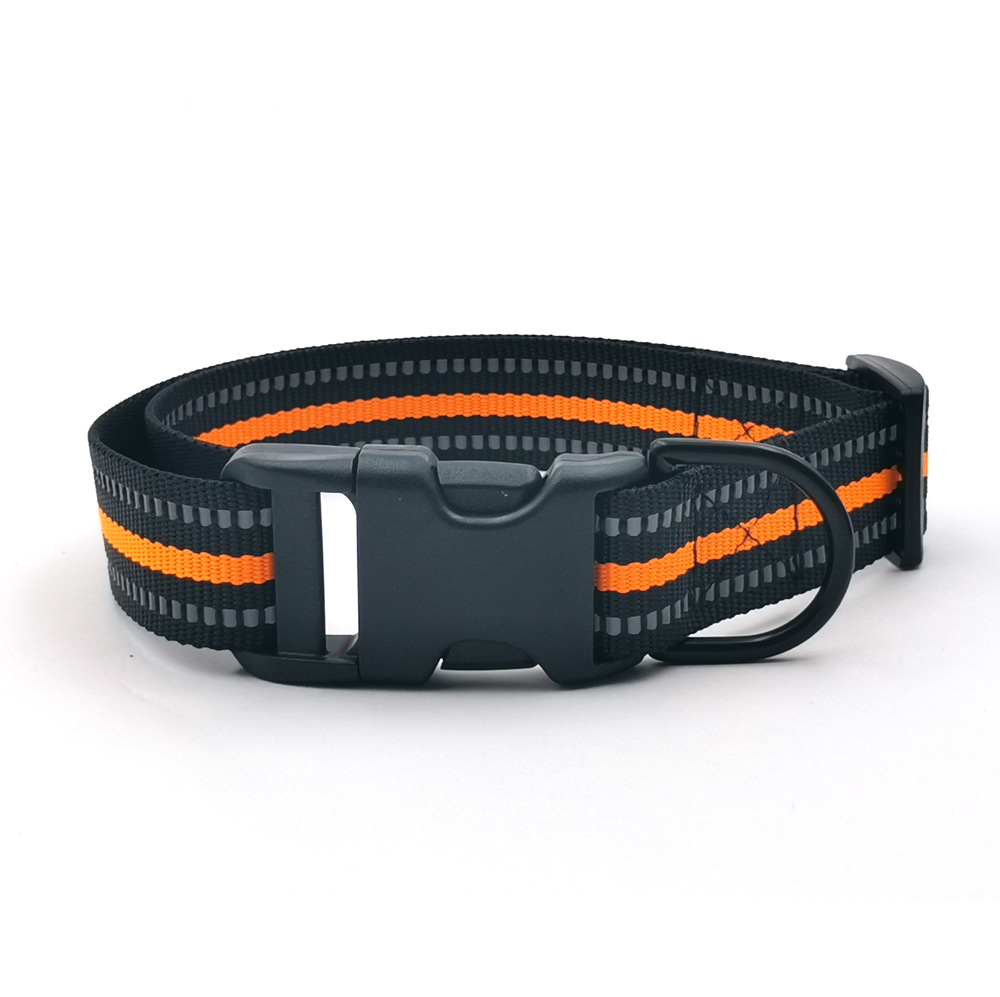 Inch Imitation Nylon Color Reflective Cable Dog Neck Ring Pet Collar Suitable Medium-sized Dog Accept Electricity Supplier OEM