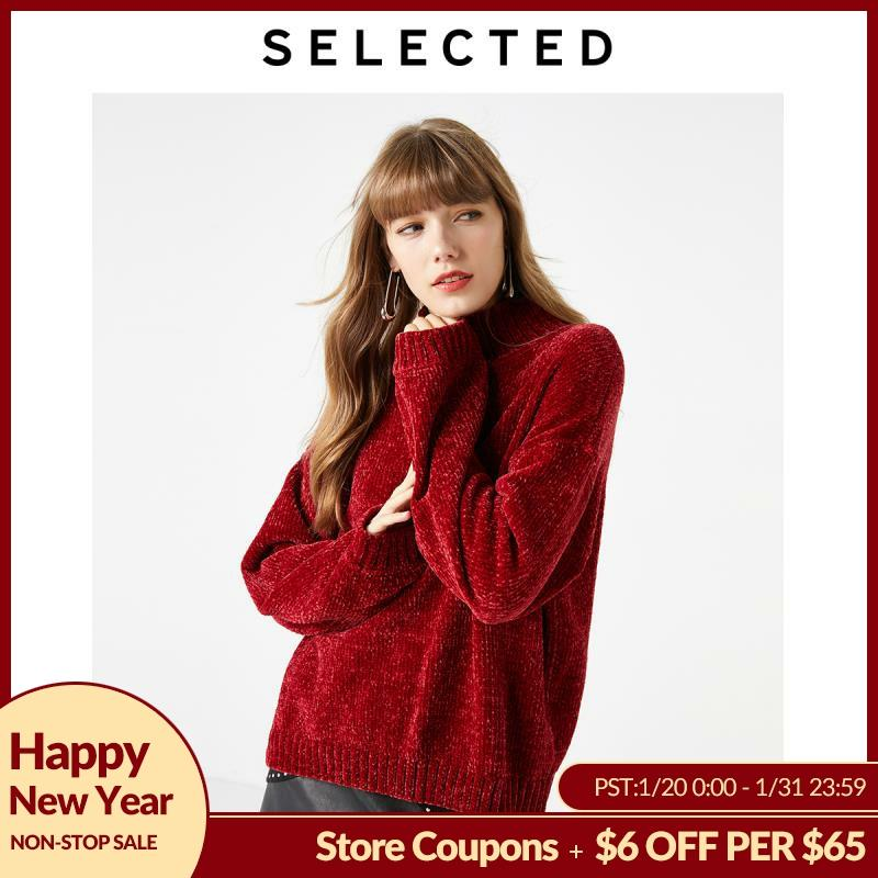 SELECTED Women's Loose Fit Mock Neck Chenille Knitted Tops S|419425503