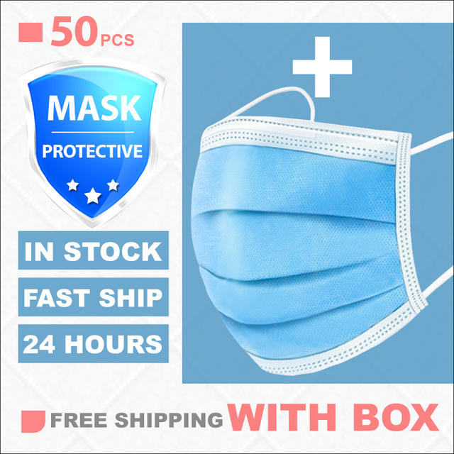 Mask Disposable Nonwoven 3 Layer Ply Filter Mask 50Pcs/100pcs  mouth Face mask filter safe Breathable dustproof Protective masks 4