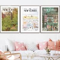 New Yorker Magazin Abdeckung Poster Auf die Welt Abstrakte Vintage Print Wand Kunst Retro Bild Leinwand Malerei Home Decor