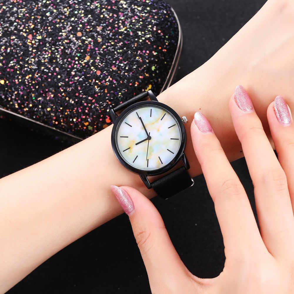 אופנה שעון יד נשים שעון גבירותיי קוורץ שעוני יד שיש אישה שעון נשי שעות Hodinky Montre Femme גדול חיוג PU