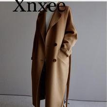 2020 Winter Coat Women Wide Lapel Belt Pocket Wool Blend Coa