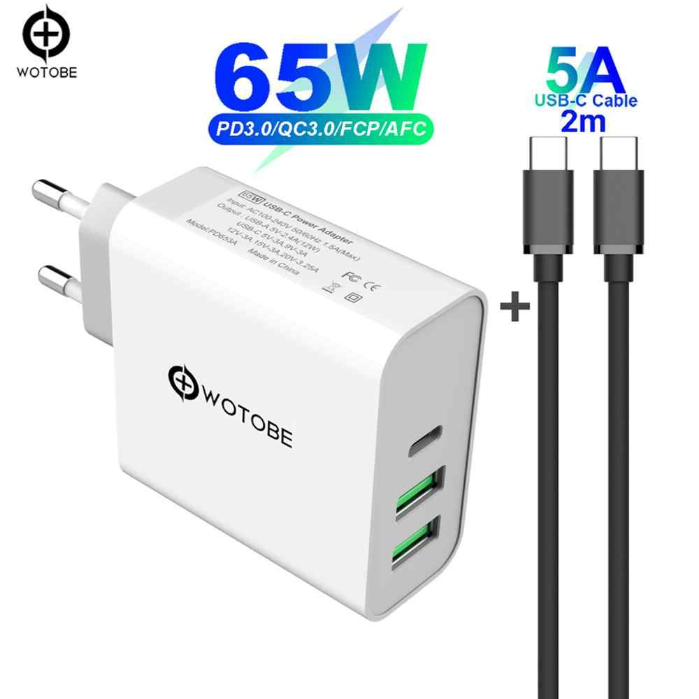 65W TYPE-C USB-C Power Adapter, 1Port PD60W QC3.0 Charger untuk USB-C Laptop Macbook Pro/Air iPad Pro, 2 Port USB untuk Samsung Iphone