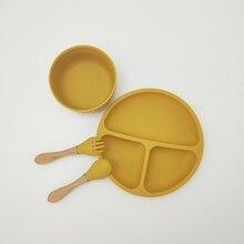 4 + шт. + Ребенок + силикон + разделенный + ужин + тарелка + присоска + миска + ложка + вилка + набор + тренировка + кормление + еда + посуда + посуда + посуда + набор + для