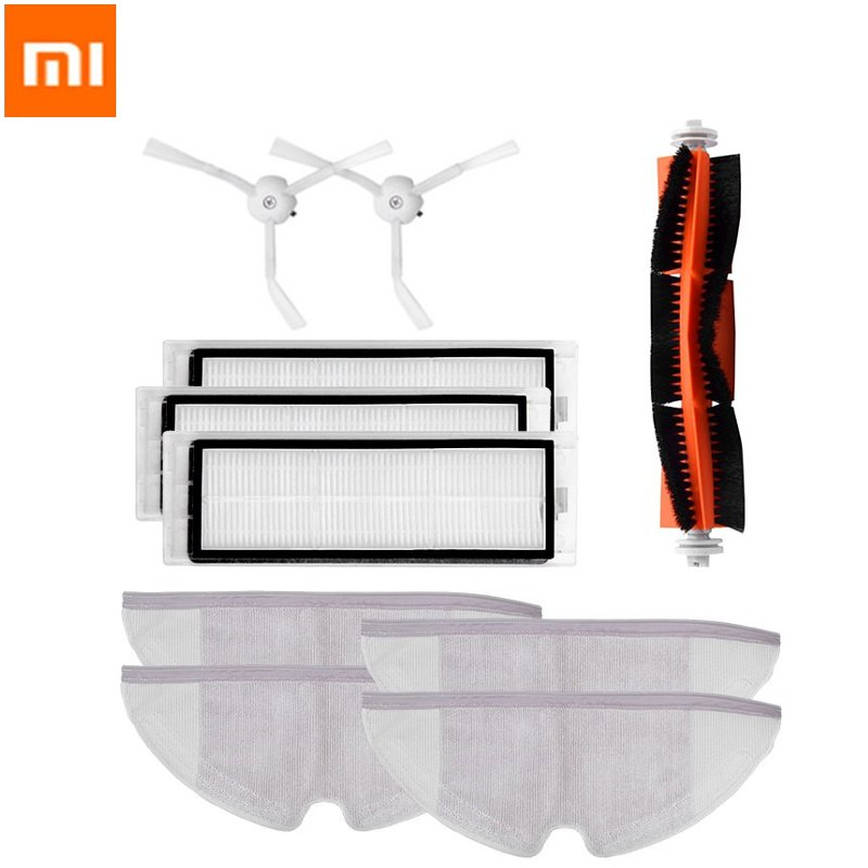 10pcs Xiaomi Vacuum Cleaner Main Brush Hepa Filter Mop Cloths Kit For Mijia Robot S50 S51 S55 Robot 2 Vacuum Cleaner Parts