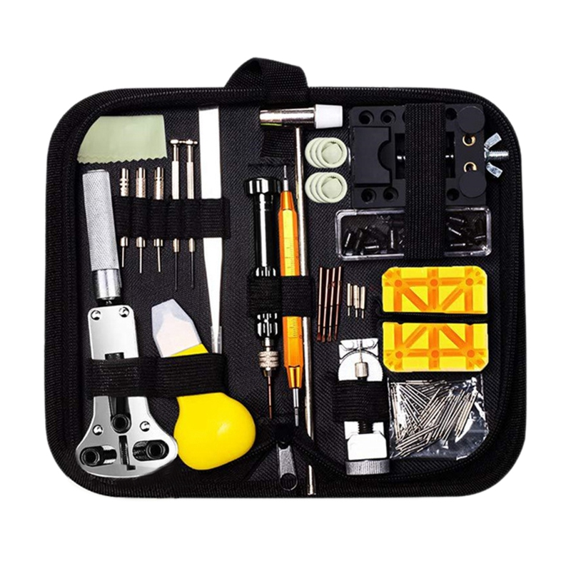 150 Pieces Watch Repair Tool Kit Watch Link Pin Remover Shell Opener Spring Bar Remover Watch Battery Replacement Strap Needle T