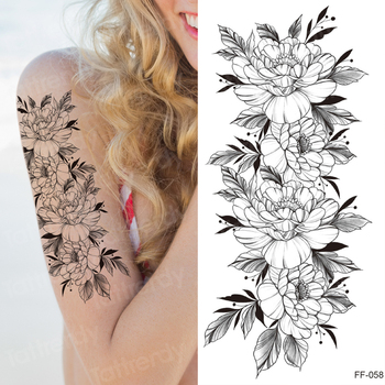 tattoo sticker women flower rose peony black tatouage temporaire femme temporary sleeve tattoo waterproof sexy body art fashion 3