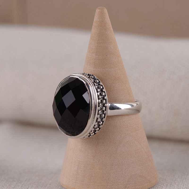 V. יה נשים בציר טבעי אבן טבעת אתני תכשיטי קלאסי אופנה כסף שחור אבן תכשיטים נשיים