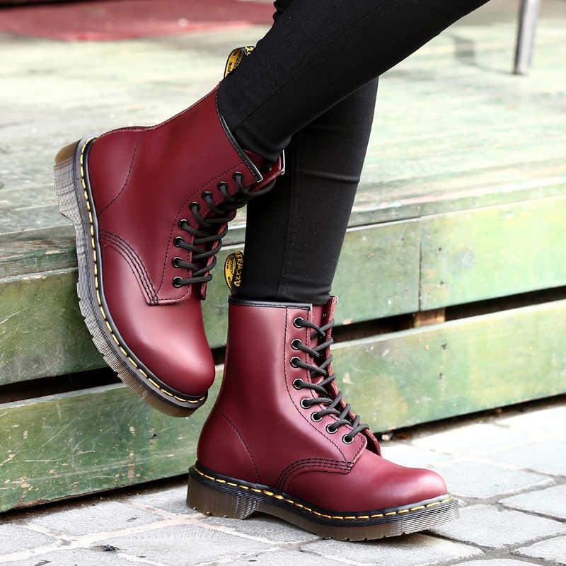 Çizmeler kadın yüksek ayak bileği iş ayakkabısı 2019 bayan ayakkabıları rahat sıcak satış Martin çizmeler deri Unisex bayan motosiklet botları