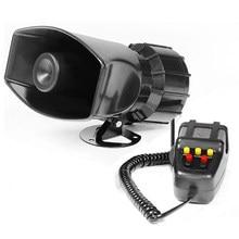 7-som alto alarme de aviso de carro polícia sirene de incêndio ar corneta pa alto-falante 12v 60w sirene chifre de ar megafone carro chifre 110db