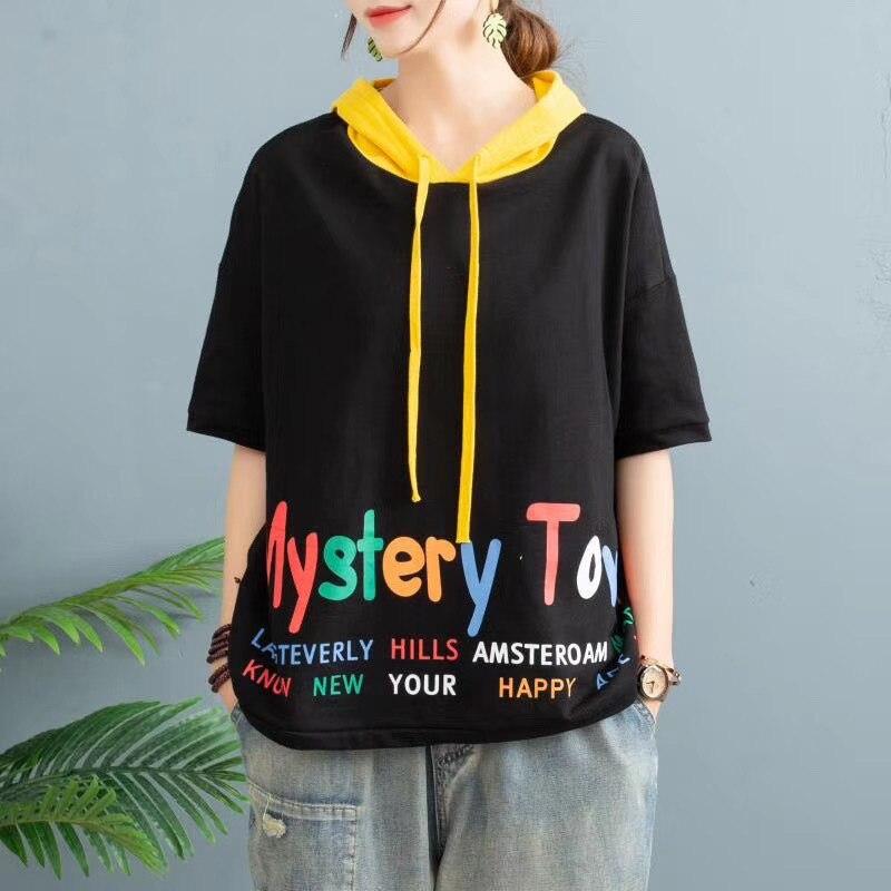 Женская летняя модная толстовка с капюшоном в Корейском стиле с коротким рукавом и разноцветным буквенным принтом, повседневная одежда для студентов|Толстовки и свитшоты|   | АлиЭкспресс