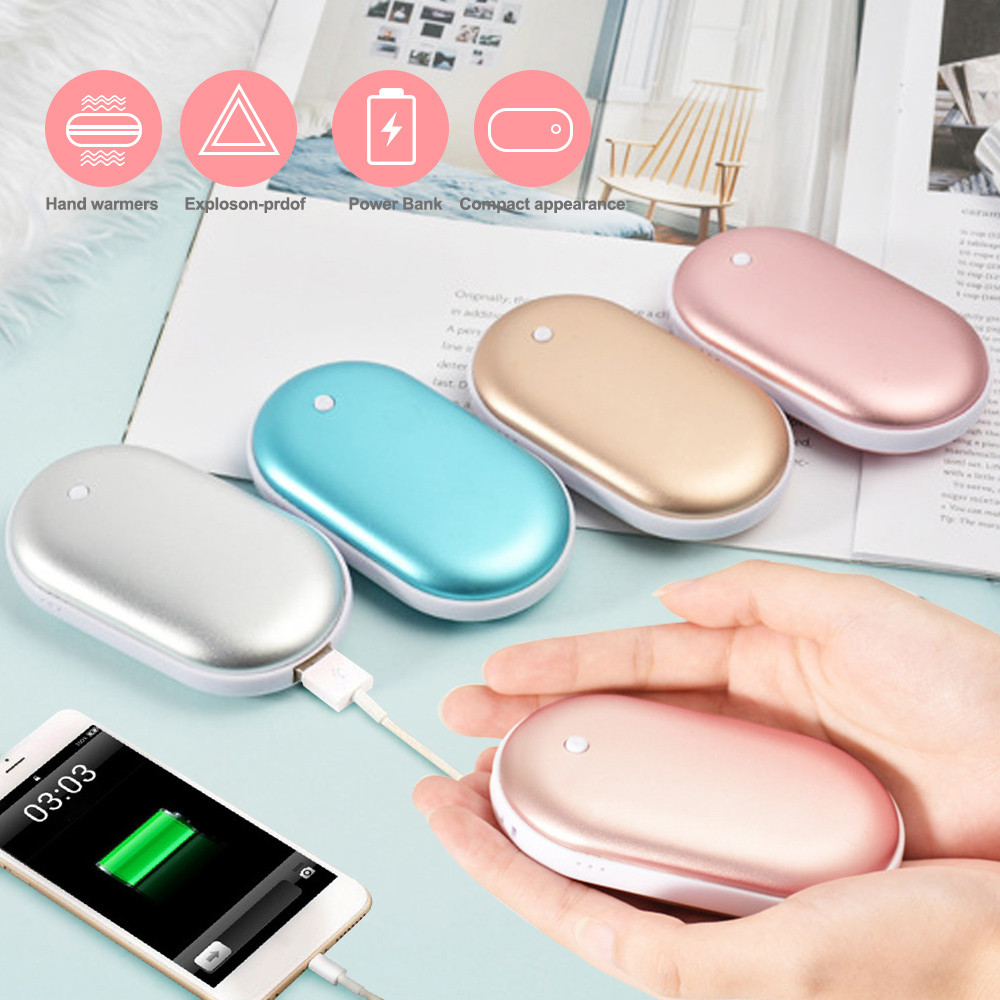 Cute Hand Warmer Long Life USB Rechargeable Power Bank Hand Warmer Portable Electric Heating Pad Heater Travel Home Mini Warmer
