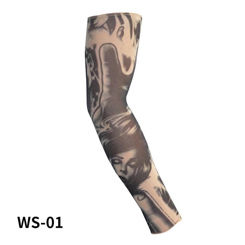 Ice Silk 1 PCS Cycling Sports Tattoo Sleeves UV Cool Arm Sleeves Cycling Running Arm Warmer Sport Elastic Oversleeve Arm Warmers