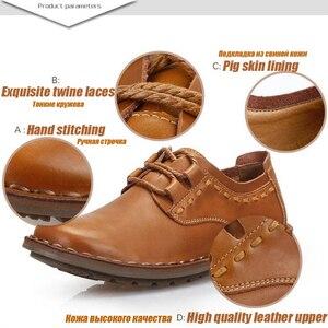 Image 4 - ZFTL yeni erkekler rahat ayakkabılar hakiki deri erkek eğlence dantel up yumuşak deri kaymaz ayakkabı adam erkek resmi ayakkabı bahar/Sonbahar 074