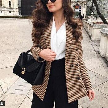 Blouson et veste à carreaux pour femmes, costume Slim à Double boutonnage pour le bureau, à la mode automne 1